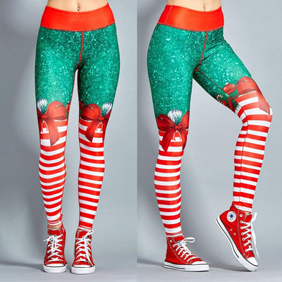 Red Christmas Striped Leggings - TonyToyss.com