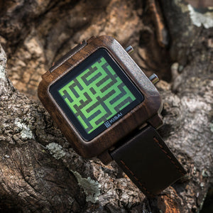 Maze Wood LCD Watch