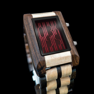 Online Wood Motion Sensor LCD Watch