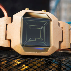 Space Digits Wood LCD Watch