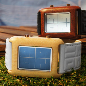 Stencil Wood LCD Watch