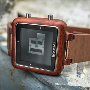 Logo Wood Binary LCD Watch