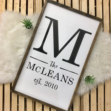 Custom Initial & Name Sign