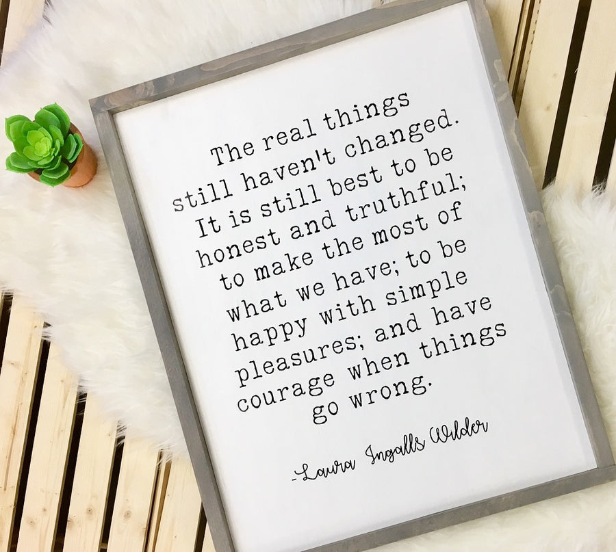 The Real Things...-Laura Ingalls Wilder - Wooden Arrow Designs