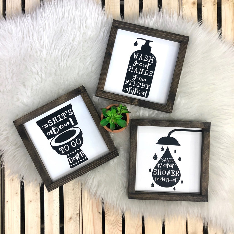 Funny Bathroom Signs {set of 3}