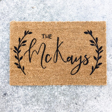 Custom Name {leaf laurels} | doormat