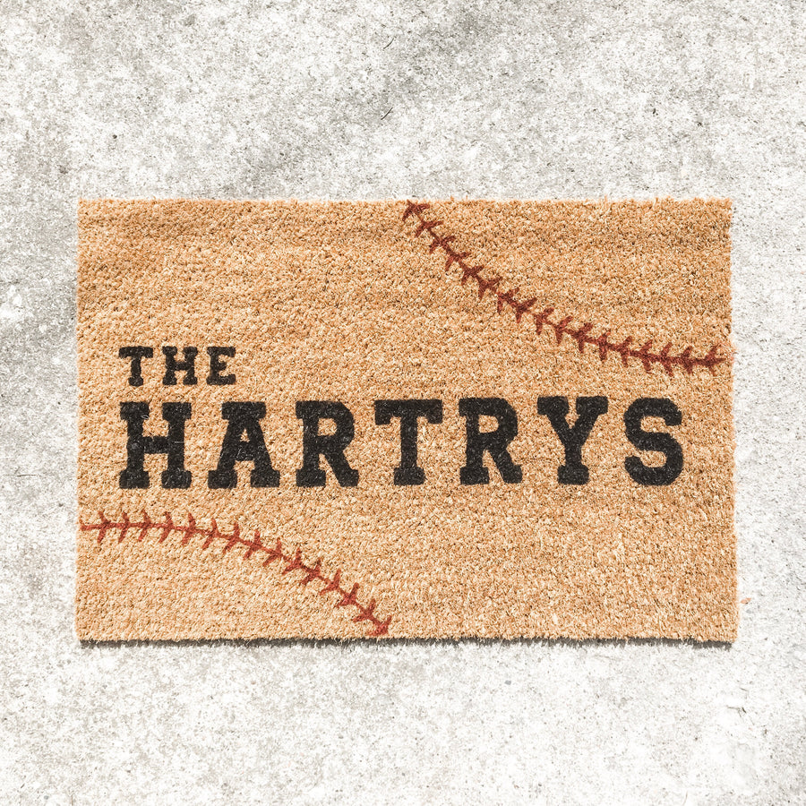 Custom Name {baseball stitching} | doormat
