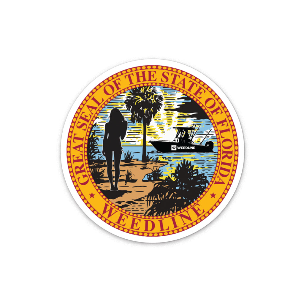 Weedline Fishing Apparel: Florida Flag, Florida State Seal Logo Sticker