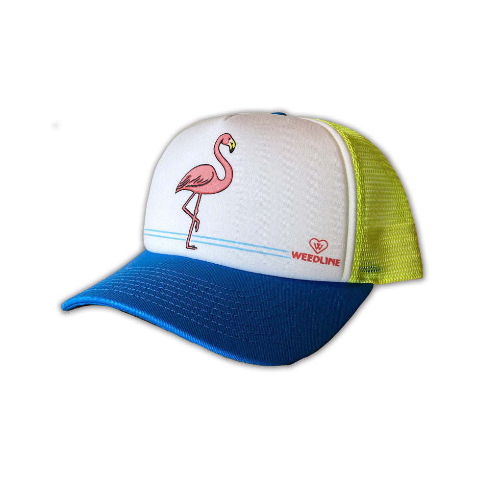 Weedline Fishing Apparel Neon Flamingo Trucker hat