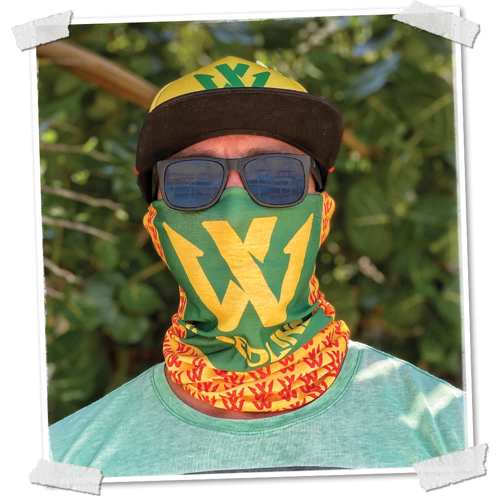 Weedline Fishing Apparel, Red Yellow Green, Rasta Face Shield, Social Distancing, Neck Gaiter