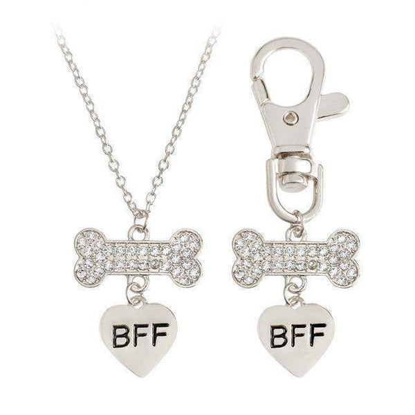 2pcs/set Gold Silver Color Dog Bone Initial Charm Dog Necklace And Collar-Necklace-silver-Pet Kisses