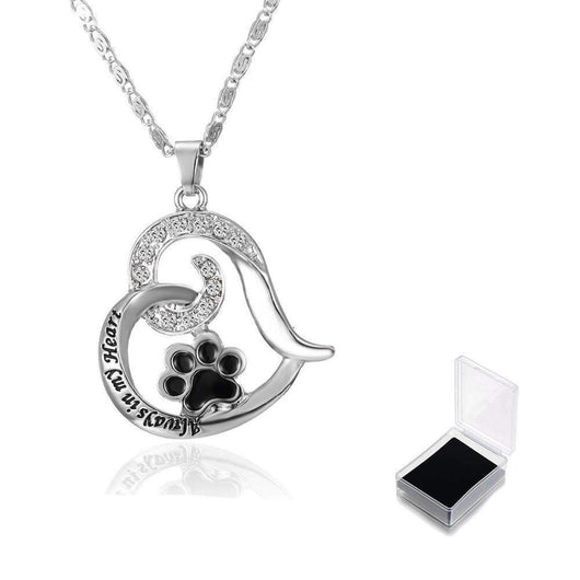 Always In My Heart Paw Print Heart Necklace-necklace-Pet Kisses