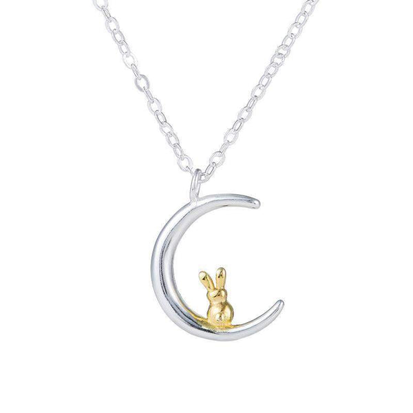Animal Moon Rabbit Necklace-necklace-Pet Kisses