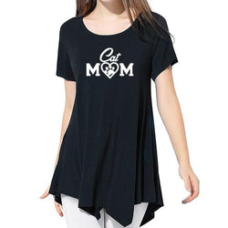 Cat Mom Print Shirt T-Shirt Women-wearable-Pet Kisses