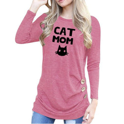 Cat Mom Print Women T-Shirt-wearable-Pet Kisses