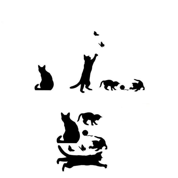 Cat Play Wall Removable Sticker Decals for Walls Vinyl-home-Pet Kisses