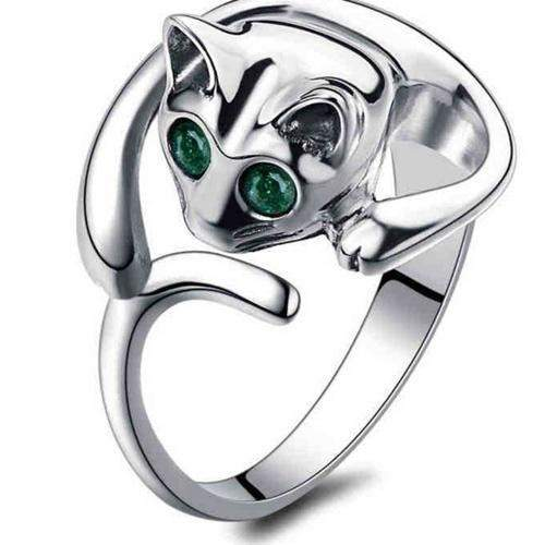 Cat Shape Rhinestone Adjustable Open Finger Ring-ring-Pet Kisses