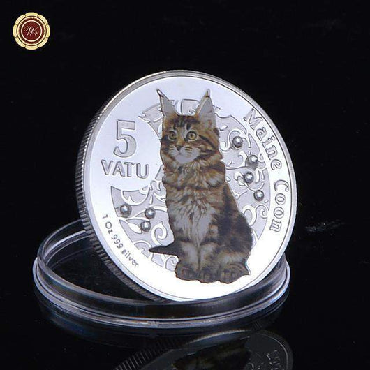 Commemorative Cat Coin-keepsake-Silver Animal Coin 3-Pet Kisses