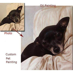 Custom Hand Painted Oil Painting from Photo-Painting-Pet Kisses