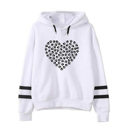 Dog Cat Paw Print Hoodie Sweatshirt-wearable-White-XXL-Pet Kisses