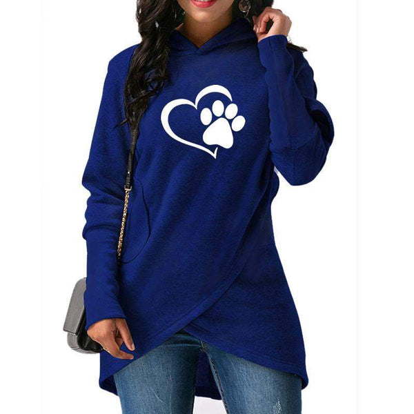 Dog Paw Heart-Shaped Print Hoodies-wearable-Pet Kisses
