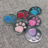 Engraved Glitter Paw Print Pet ID Tags-tag-Pet Kisses