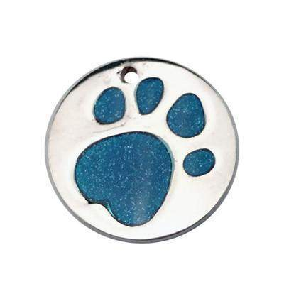 Engraved Glitter Paw Print Pet ID Tags-tag-Blue-One size-United States-Pet Kisses