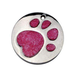 Engraved Glitter Paw Print Pet ID Tags-tag-Hot Pink-One size-United States-Pet Kisses