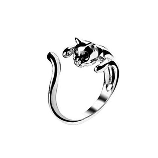 Fashion Silver Color Cute Cat Openings Ring With Black Eyes-ring-Pet Kisses
