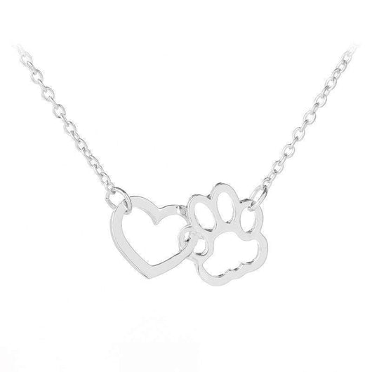 Heart And Dog Paw Necklace-necklace-SILVER-Pet Kisses