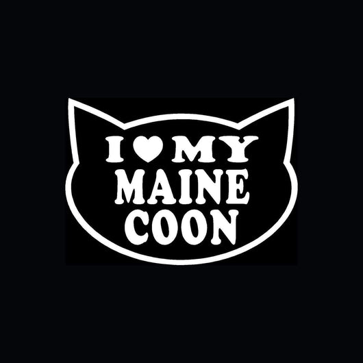 I LOVE MY MAINE COON CAT Sticker for Car Window-decal-Pet Kisses