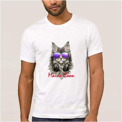 Maine Coon Cool DJ Cat T-shirt Men-wearable-White-S-Pet Kisses