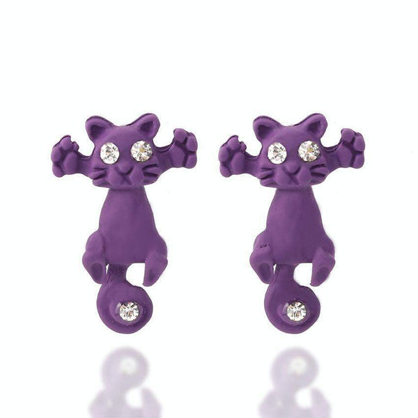 Multiple Color Cute Cat Stud Earrings-earrings-Pet Kisses