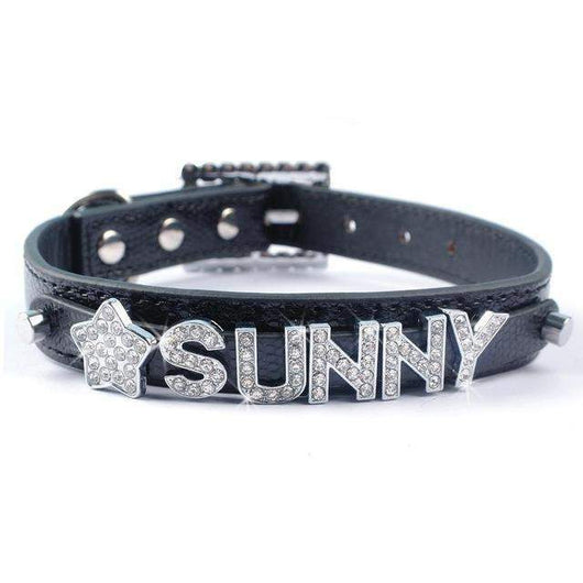 Personalized Collar Snake Skin Leather Customized Free Name & Charm-collar-Black-S-Pet Kisses