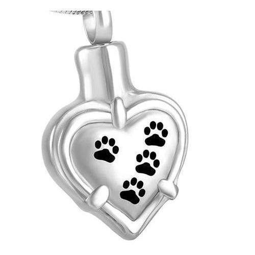 Pet Paw Cremation Urn Necklace Memorial Jewelry for Ashes-urn-Pet Kisses