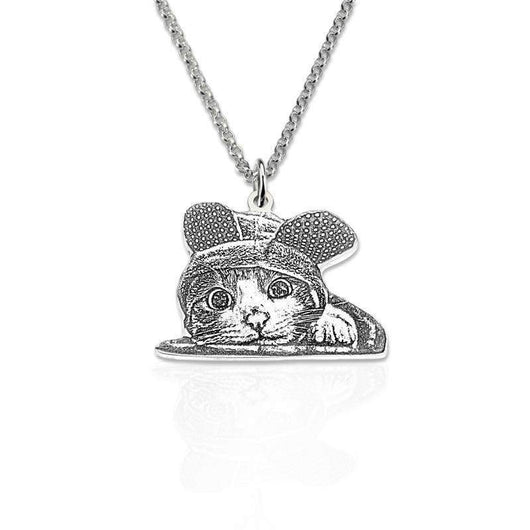 Photo necklace sterling silver custom engraved necklace custom photo necklace sterling silver custom engraved necklace necklace pet kisses aloadofball Images