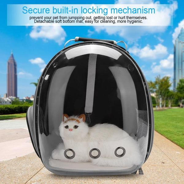 Portable Pet Cat Backpack Transparent Capsule Breathable Bag Outdoor Travel Carrying Cages