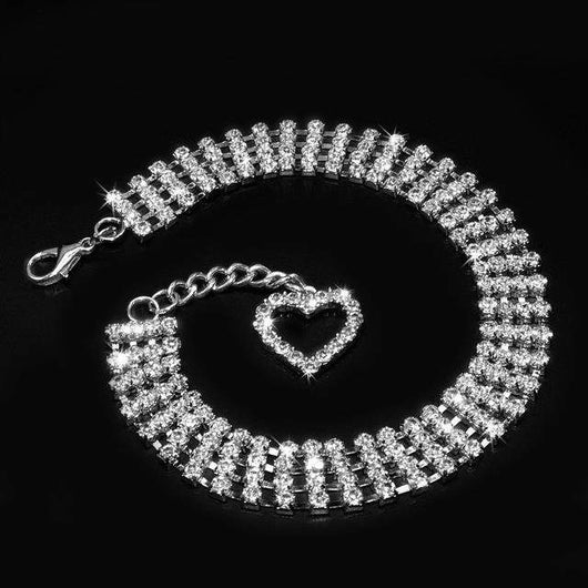 Rhinestone Collar With Novelty Crystal Heart Pendant-collar-Pet Kisses