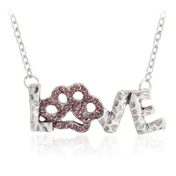 Silver Love Pink Crystal Paw Necklace-necklace-Pet Kisses