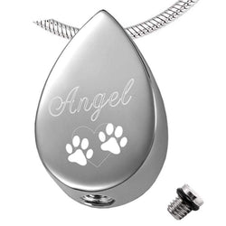 Stainless Steel Tear Drop Custom Engraved Cremation Urn for Pet-urn-Pet Kisses