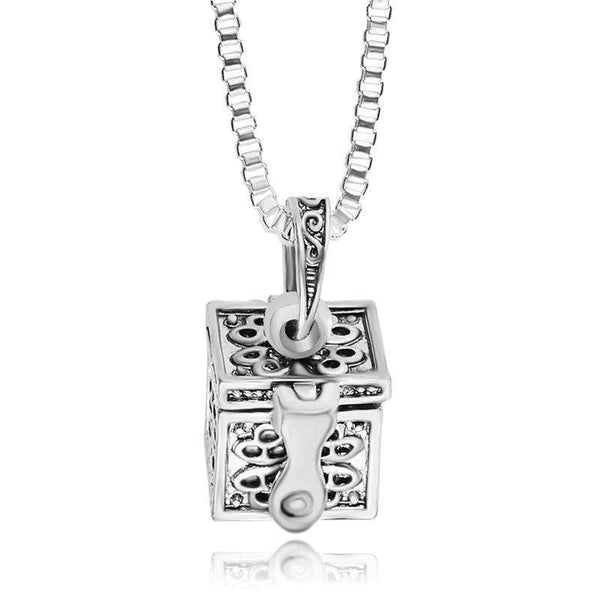 Stylish Antique Silver Animal Cinerary Casket Necklace-necklace-Pet Kisses