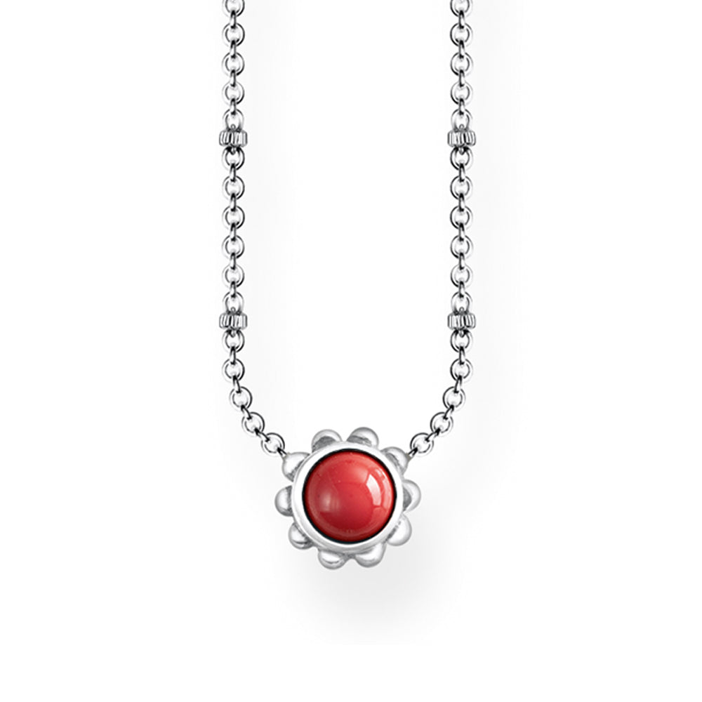 Thomas Sabo Silver Red Floral Necklace KE1669-111-10