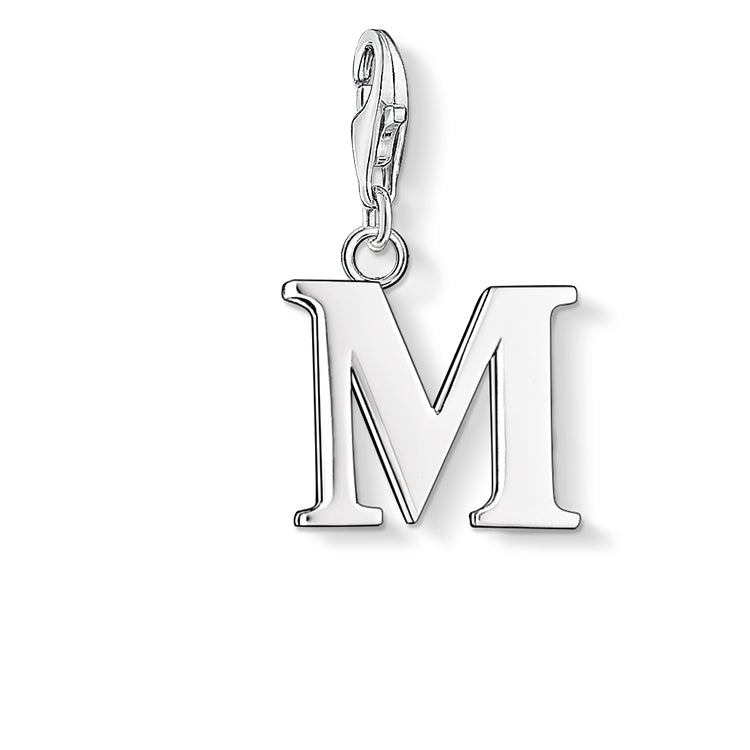 M initial silver charm
