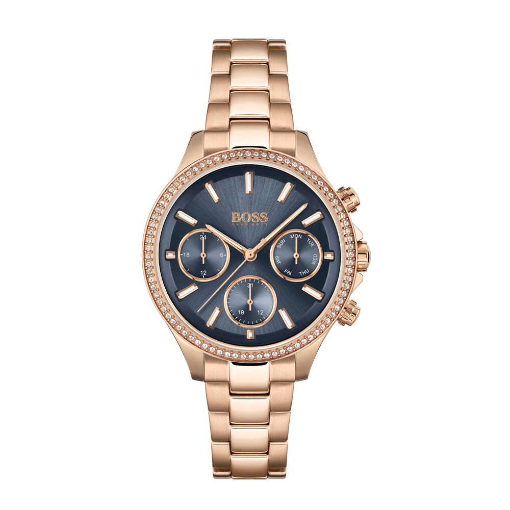 BOSS Hera Ladies Black Dial Gold Watch 1502566