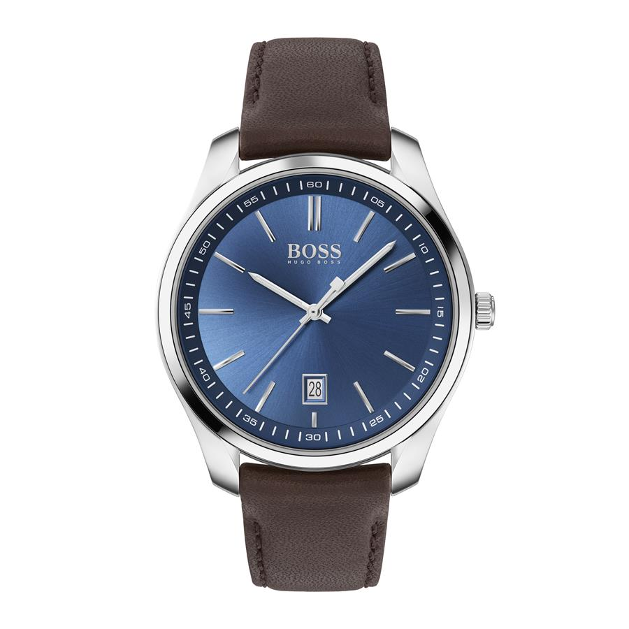 BOSS Gents Circuit Blue Dial Leather Watch 1513728