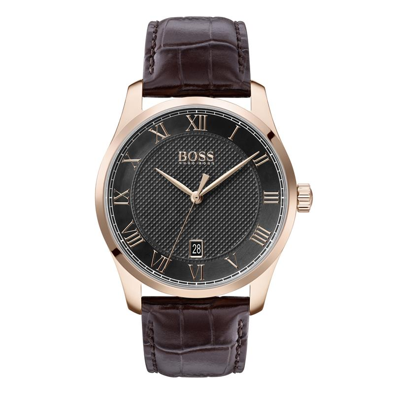 BOSS Gents Master Brown Leather Strap Watch 1513740