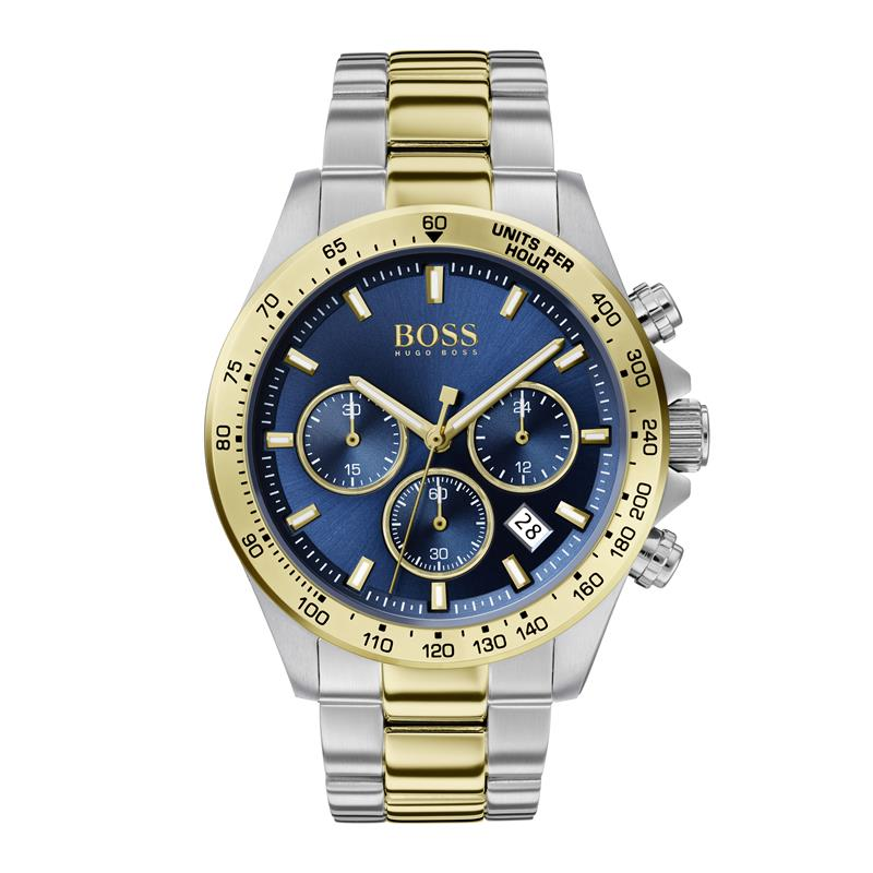 BOSS Gents Hero Blue Dial Steel Gold Watch 1513767
