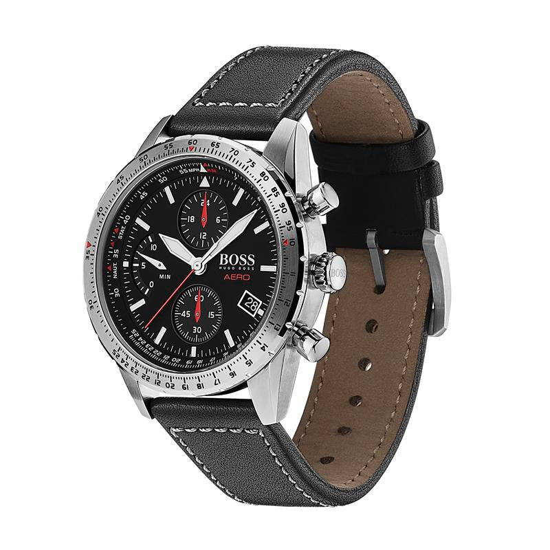 BOSS Gents Aero Black Leather Strap Watch 1513770