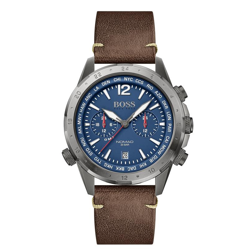 BOSS Gents Nomad Brown Leather Strap Watch 1513773
