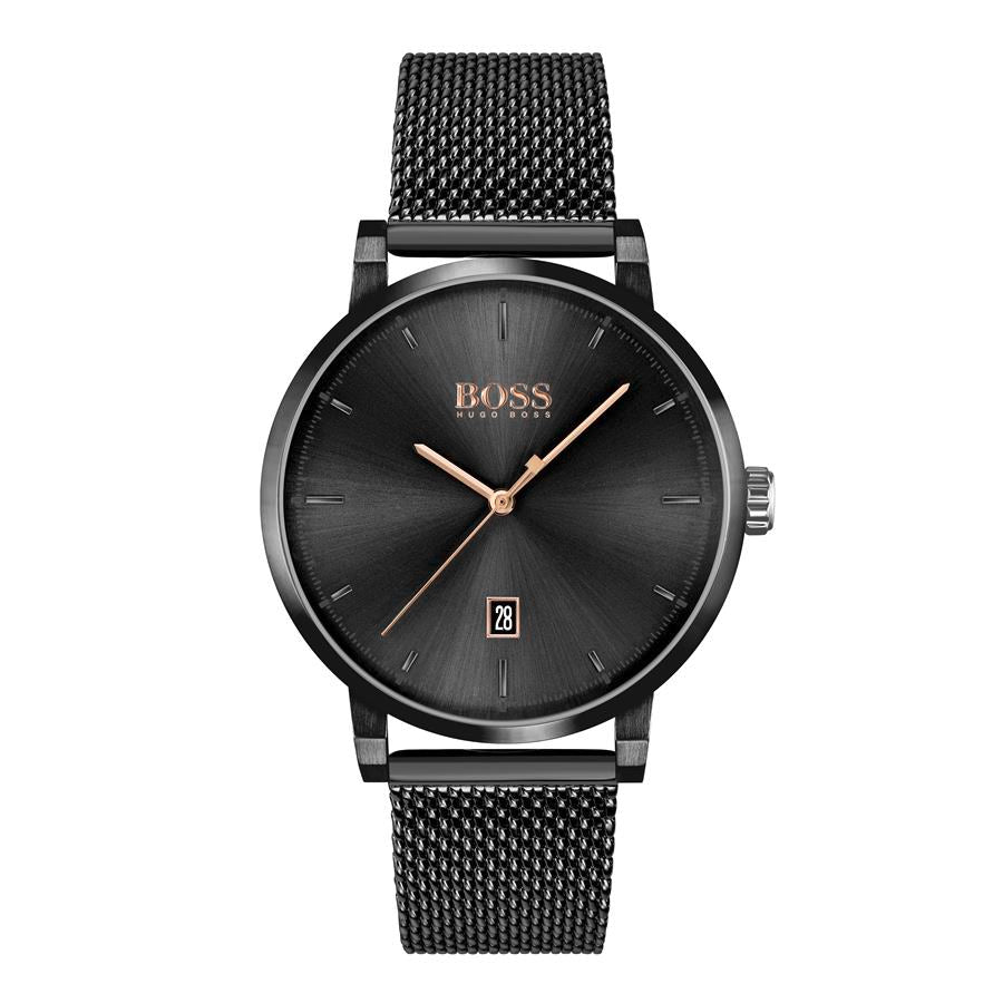 BOSS Gents Confidence Black Steel Watch 1513810